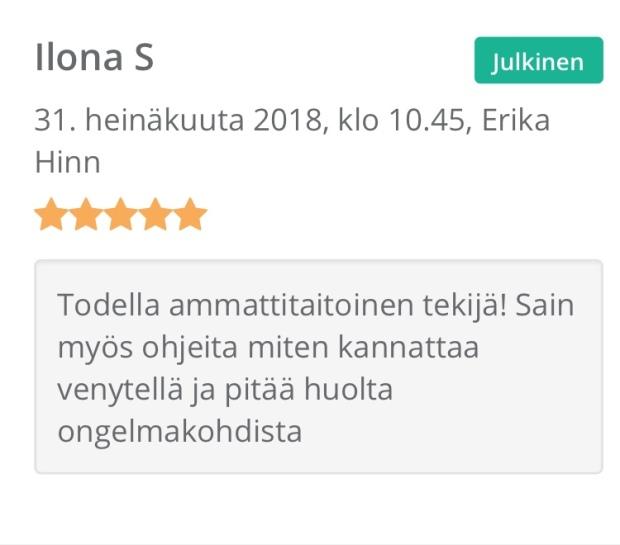 Hierontapalvelu Parane Helsinki, koulutettu hieroja Erika Hinn