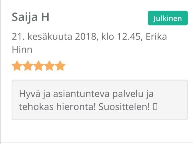 Hierontapalvelu Parane Helsinki, koulutettu hieroja Erika Hinn.
